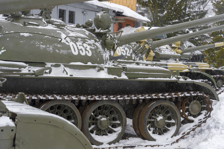 The average Soviet t-55 tank close-up in the Museum. Soviet military equipment. Stok Fotoğraf - 118184261