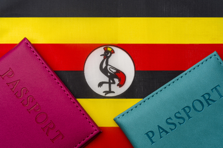 Against the flag of Uganda is a passport. The concept of travel and tourism.