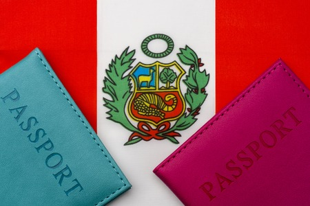 On the flag of Peru is a passport. The concept of travel and tourism to foreign countries.