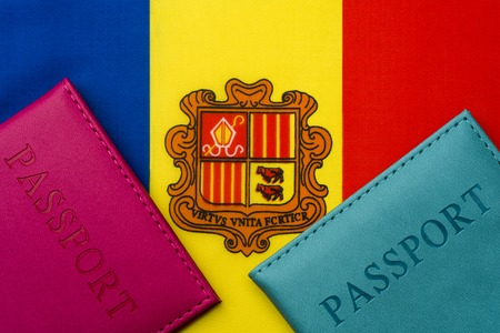 On the flag of Andorra is a passport. The concept of travel and tourism.