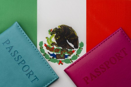 On the flag of Mexico is a passport. The concept of travel and tourism.