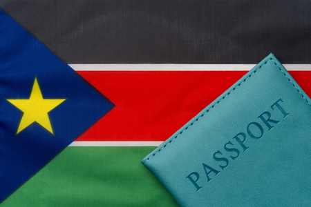 On the flag of South Sudan is a passport. The concept of travel and tourism.