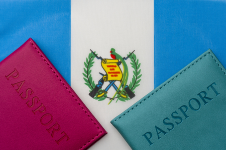 On the flag of Guatemala is a passport. The concept of travel and tourism to foreign countries.