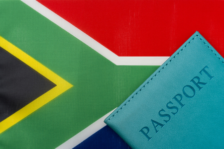 On the flag of South Africa is a passport. The concept of travel and tourism.