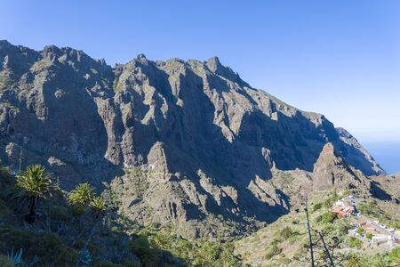 View of the mountains and the gorge mask. The concept of tourism and recreation in Tenerife.