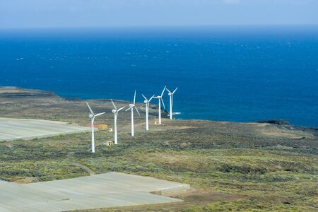 Wind Power Plant Station in Tenerife, Spain. The concept of safe energy.