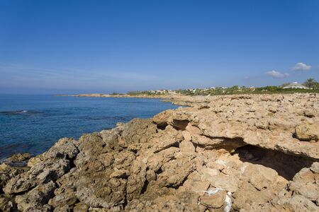 View of the beach with white rocks. Cyprus. The concept of travel and tourism.