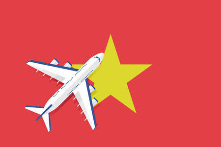 Vector Illustration of a passenger plane flying over the flag of Vietnam. Concept of tourism and travel. Illusztráció