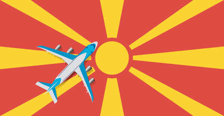 Vector Illustration of a passenger plane flying over the flag of Macedonia. Concept of tourism and travel