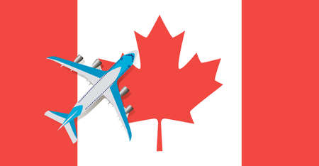 Vector Illustration of a passenger plane flying over the flag of Canada. Concept of tourism and travel Vettoriali