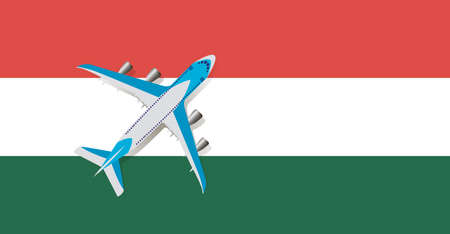 Vector Illustration of a passenger plane flying over the flag of Hungary. Concept of tourism and travel Vettoriali