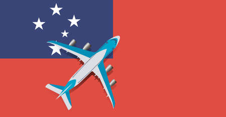 Vector Illustration of a passenger plane flying over the flag of Samoa. Concept of tourism and travel