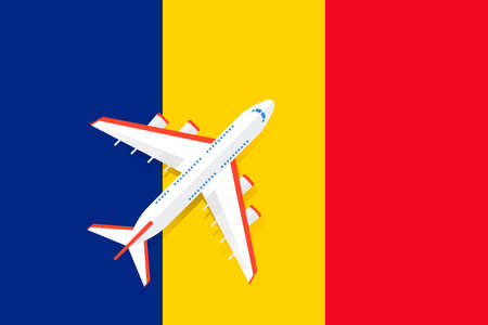 Vector Illustration of a passenger plane flying over the flag of Romania. Concept of tourism and travel Vettoriali