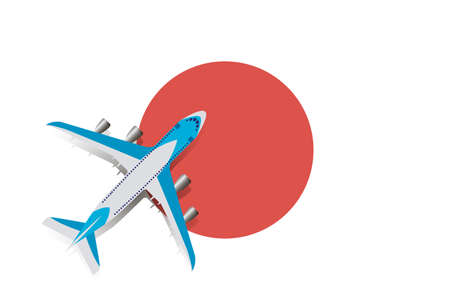 Vector Illustration of a passenger plane flying over the flag of Japan. Concept of tourism and travel