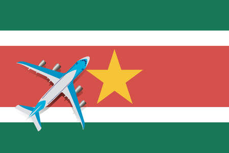 Vector Illustration of a passenger plane flying over the flag of Suriname. Concept of tourism and trave