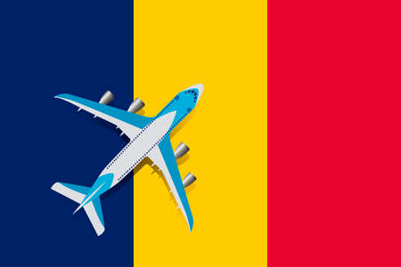Vector Illustration of a passenger plane flying over the flag of Chad. Concept of tourism and travel