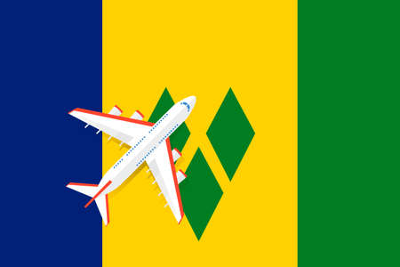 Vector Illustration of a passenger plane flying over the flag of Saint Vincent and the Grenadines. Concept of tourism and travel Vettoriali
