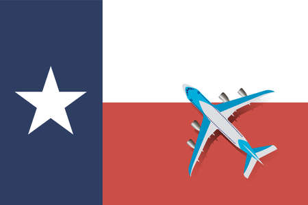 Vector Illustration of a passenger plane flying over the flag of Texas. Concept of tourism and travel