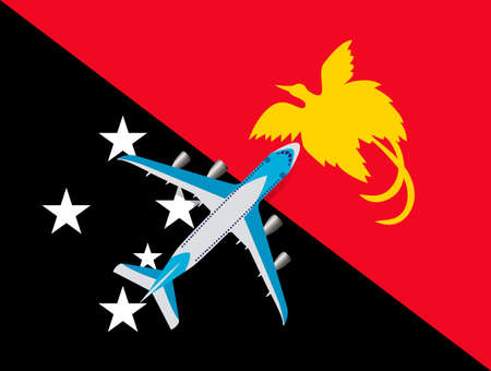 Vector Illustration of a passenger plane flying over the flag of Papua. Concept of tourism and travel