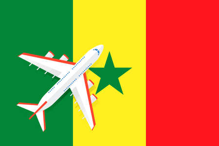 Vector Illustration of a passenger plane flying over the flag of Senegal. Concept of tourism and travel