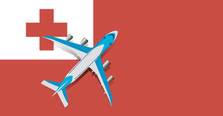 Vector Illustration of a passenger plane flying over the flag of Tonga. Concept of tourism and travel Vettoriali