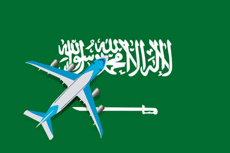 Vector Illustration of a passenger plane flying over the flag of Saudi Arabia. Concept of tourism and travel