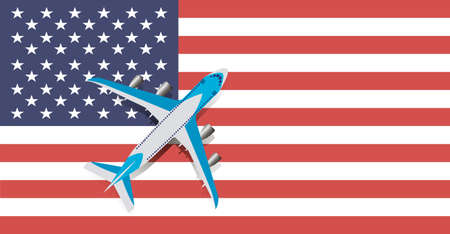 Vector Illustration of a passenger plane flying over the flag of the United States of America. Concept of tourism and travel