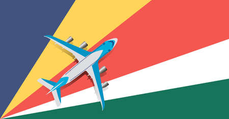 Vector Illustration of a passenger plane flying over the flag of the Seychelles. Concept of tourism and travel Vettoriali