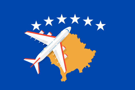 Vector Illustration of a passenger plane flying over the flag of the Republic of Kosovo. Concept of tourism and travel Vettoriali