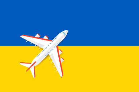 Vector Illustration of a passenger plane flying over the flag of Ukraine. Concept of tourism and travel