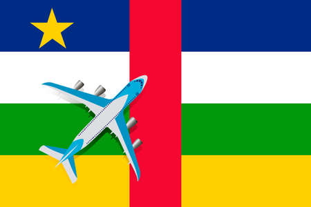 Vector Illustration of a passenger plane flying over the flag of the Central African Republic. Concept of tourism and travel Vettoriali