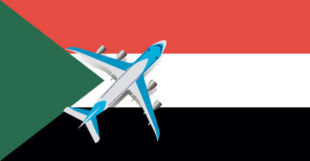 Vector Illustration of a passenger plane flying over the flag of Sudan. Concept of tourism and travel