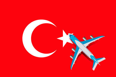 Vector Illustration of a passenger plane flying over the flag of Turkey. Concept of tourism and travel Vettoriali