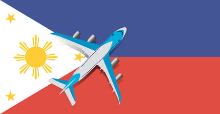 Vector Illustration of a passenger plane flying over the flag of the Philippines. Concept of tourism and travel Vettoriali