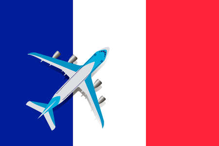 Vector Illustration of a passenger plane flying over the flag of France. Concept of tourism and travel Vettoriali