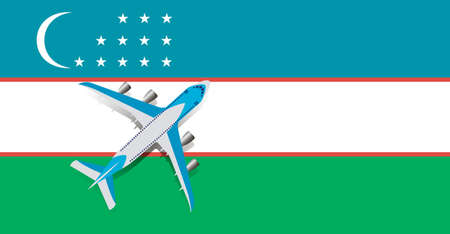 Vector Illustration of a passenger plane flying over the flag of Uzbekistan. Concept of tourism and travel Vettoriali