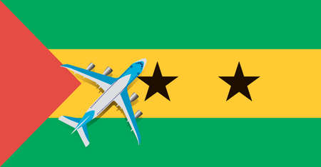 Vector Illustration of a passenger plane flying over the flag of Sao Tome and Principe. Concept of tourism and travel