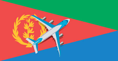 Vector Illustration of a passenger plane flying over the flag of Eritrea. Concept of tourism and travel Vettoriali