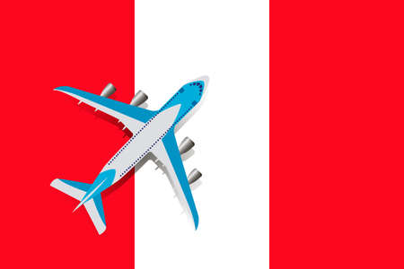Vector Illustration of a passenger plane flying over the flag of Peru. Concept of tourism and travel Vettoriali