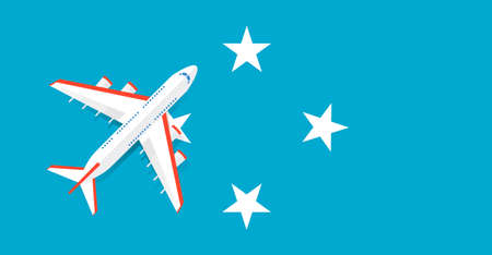 Vector Illustration of a passenger plane flying over the flag of the federated States of Micronesia. Concept of tourism and travel