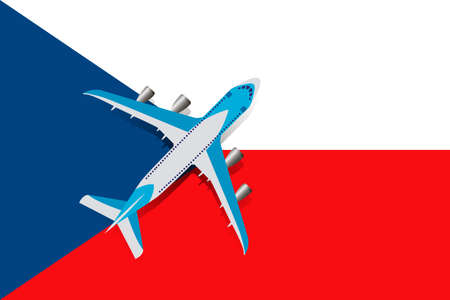 Vector Illustration of a passenger plane flying over the Czech flag. Concept of tourism and travel