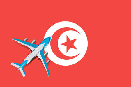 Vector Illustration of a passenger plane flying over the Tunisian flag. Concept of tourism and travel