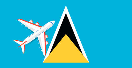 Vector Illustration of a passenger plane flying over the flag of Saint Lucia. Concept of tourism and travel