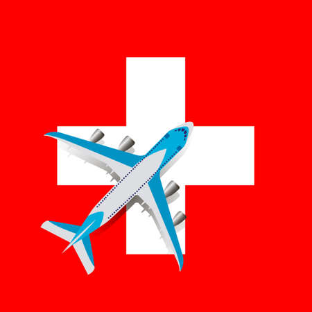 Vector Illustration of a passenger plane flying over the Swiss flag. Concept of tourism and travel Vettoriali