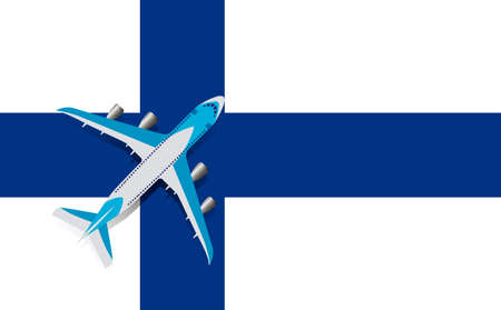 Vector Illustration of a passenger plane flying over the flag of Finland. Concept of tourism and travel