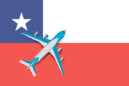 Vector Illustration of a passenger plane flying over the flag of Chile. Concept of tourism and travel Vettoriali