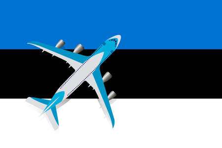 Vector Illustration of a passenger plane flying over the flag of Estonia. Concept of tourism and travel