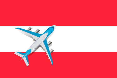 Vector Illustration of a passenger plane flying over the flag of Austria. Concept of tourism and travel