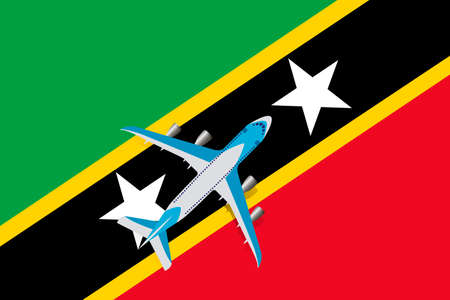 Vector Illustration of a passenger plane flying over the flag of Saint Kitts and Nevis. Concept of tourism and travel