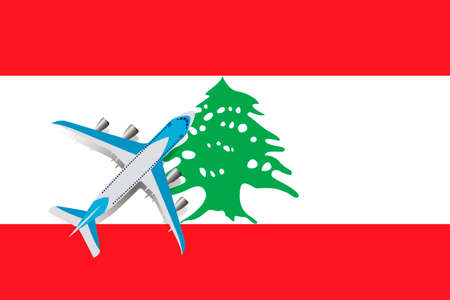 Vector Illustration of a passenger plane flying over the flag of Lebanon. Concept of tourism and travel Vettoriali